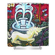 The Unicorn And Garden Shower Curtain