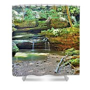 The Waterfall In Old Man's Cave Hocking Hills Ohio Shower Curtain