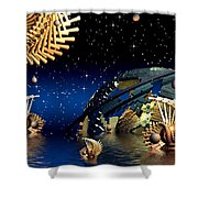 The Wickers-... Out For A  Midnight Swim... Shower Curtain