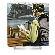 Thomas Edison, The Railway Telegraphist  Shower Curtain