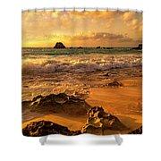 Thoughtful Morning Golden Coastal Paradise  Shower Curtain
