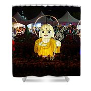 Three Lanterns In The Shape Of Buddhist Monks Shower Curtain