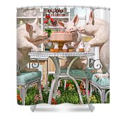 Three Little Pigs And The Birthday Cake Shower Curtain