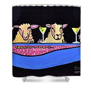 Three Sheeps To The Wind  Shower Curtain