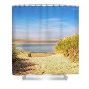 Through The Dunes Over To Budle Bay Shower Curtain