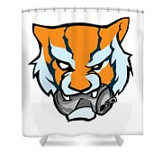 Tiger Head Bitting Beer Can Orange Shower Curtain