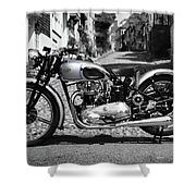 Tiger T100 Vintage Motorcycle Shower Curtain
