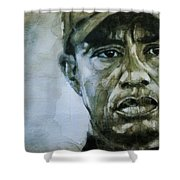 Tiger Woods - On The Road Again  Shower Curtain