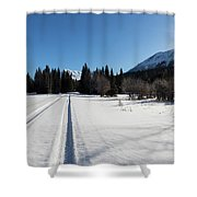 Tire Tracks In Snow In An Isolated Area Of The Kenai Peninsula Shower Curtain