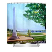 Tom Lee Monument Anniversary Print Shower Curtain