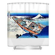 Top Quality Art - Mt,fuji36view-joshu Ushibori Shower Curtain