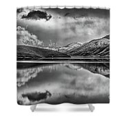 Topaz Lake Winter Reflection, Black And White Shower Curtain