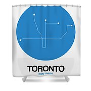 Toronto Blue Subway Map Shower Curtain