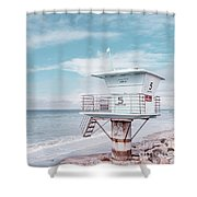 Torrey Pines Beach Lightguard Station Number 5 Shower Curtain by Wendy Fielding