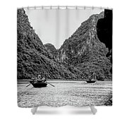 Touring Ha Long Bay Row Boats People Bw Shower Curtain