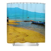 Tourists In Lang Co 2 - Hue, Vietnam Shower Curtain