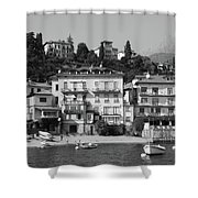 Town In The Shore Of Lake Como In Black And White Shower Curtain