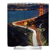 Traffic Racing Over The Golden Gate Bridge Shower Curtain