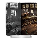 Train - Repair - Third Door On The Right 1942 - Side By Side Shower Curtain