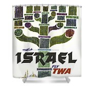 Trans World Airlines - Israel - Vintage Travel Poster Shower Curtain