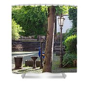tree lamp and old water pump in Cochem Germany Shower Curtain