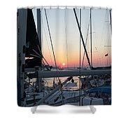 Trieste Sunset Shower Curtain by Helga Novelli