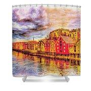 Trondheim - Waterfront Evening Shower Curtain