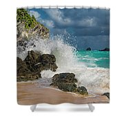 Tropical Beach Splash Shower Curtain