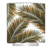 Tropical Palm Leaf Pattern 6 - Tropical Wall Art - Summer Vibes - Modern, Minimal - Brown, Copper Shower Curtain