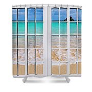 Tropical Paradise Beach Day Windows Shower Curtain