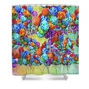 Tropical Print Balloons Shower Curtain