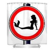 Trucker Mermaid Road Sign Shower Curtain
