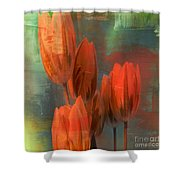 Tulips With Green Background Shower Curtain