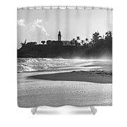 Tuna Punta Lighthouse Black And White Shower Curtain