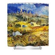 Tuscan Landscape - San Gimignano Shower Curtain