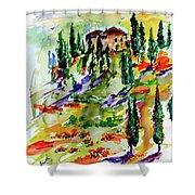 Tuscan Sunset Italian Hillside Landscape Shower Curtain