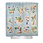 Twelve Glyphs Shower Curtain