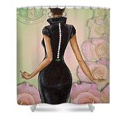 Twenty Pearls N Pink Roses Shower Curtain