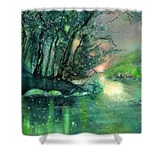 Twilight At The River Rhine Shower Curtain