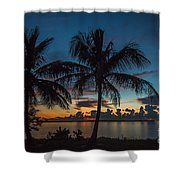 Twin Palms Sunrise Shower Curtain by Tom Claud
