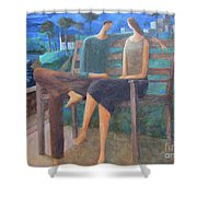 Two Boats In The Night Shower Curtain