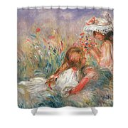Two Children Seated Among Flowers, 1900 Shower Curtain