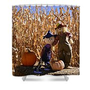 Two Cute Scarecrows With Pumpkins In The Dry Corn Field Shower Curtain