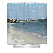 Two Men Set Out On Jet Skis From A Sanibel Island Causeway Islan Shower Curtain