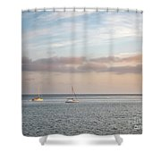 Two Sail Boats In Ocean Sea Facing The Sunset During The Golden  Shower Curtain
