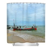 Two Thai Fishermen Take Equipment Onto Boat At Seaside Pattani Thailand Shower Curtain