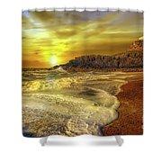 Twr Mawr Lighthouse Sunset Shower Curtain