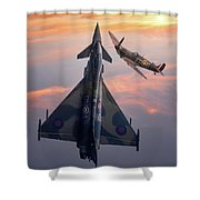 Typhoon And Spitfire Synchro-pair Display Team Shower Curtain
