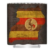 Uganda Country Flag Map Shower Curtain
