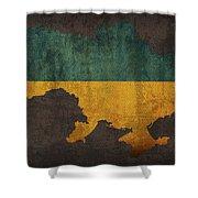 Ukraine Country Flag Map Shower Curtain